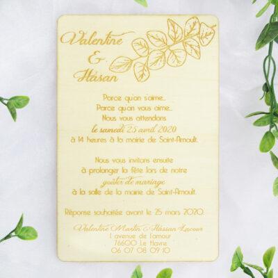 faire-part de mariage en bois eucalyptus