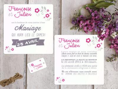 faire-part de mariage champêtre fleuri