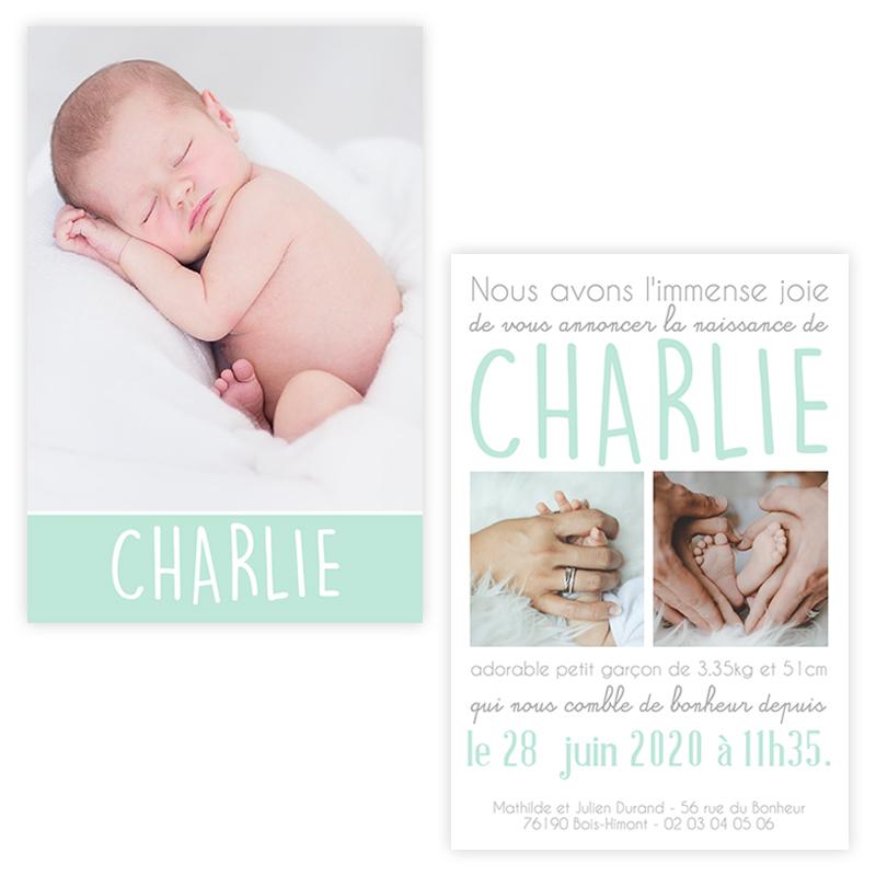 Faire-part de naissance menthe Charlie