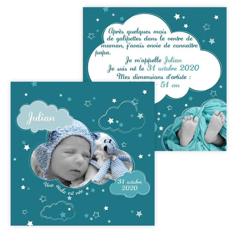 Faire-part de naissance nuage bleu